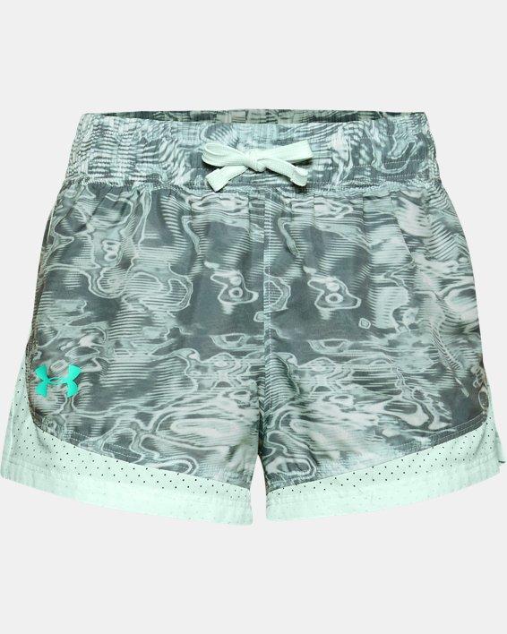 Girls' UA Sprint Printed Shorts, Blue, pdpMainDesktop image number 0