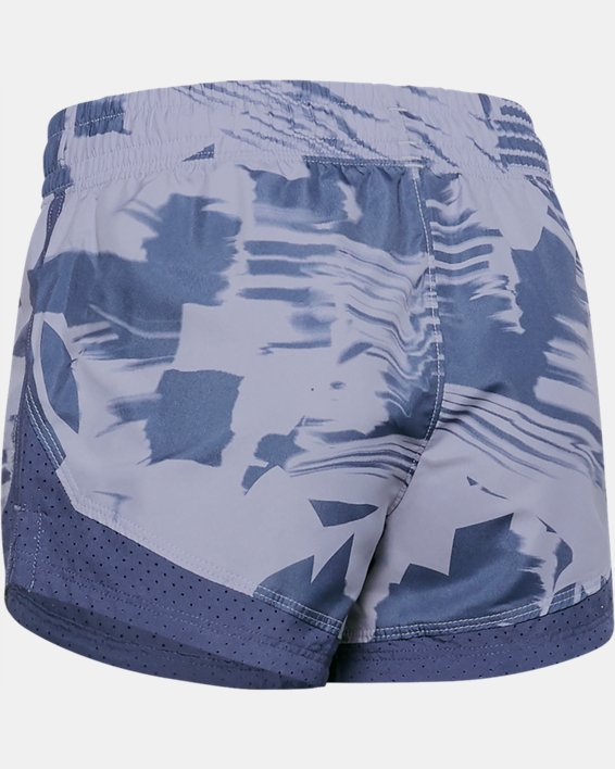 Girls' UA Sprint Printed Shorts, Purple, pdpMainDesktop image number 1