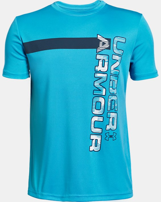 Boys' UA UV Wordmark T-Shirt, Blue, pdpMainDesktop image number 0
