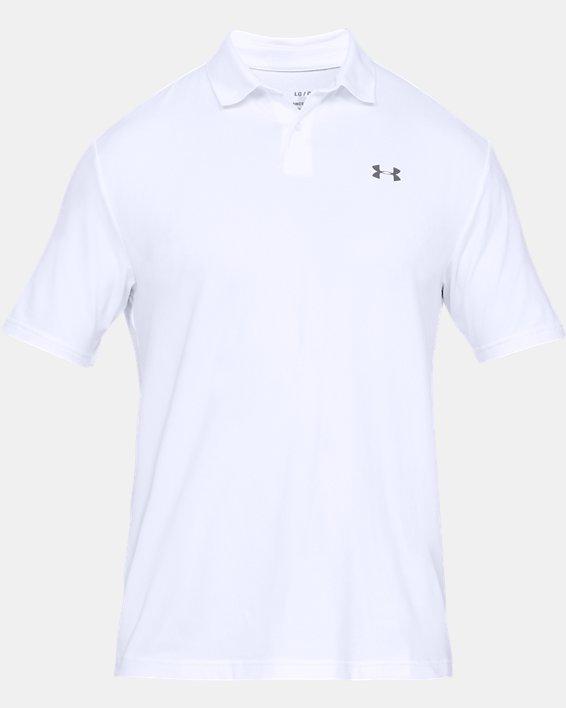 Men's UA Performance Polo Textured, White, pdpMainDesktop image number 3