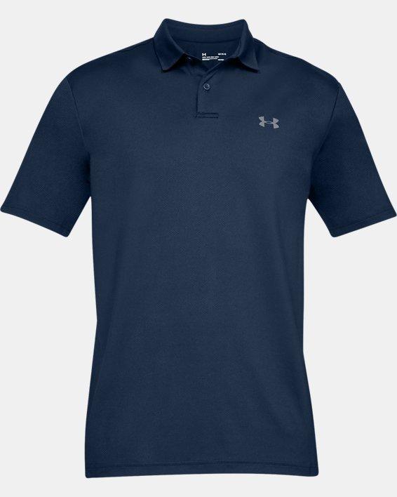 Men's UA Performance Polo Textured, Navy, pdpMainDesktop image number 3