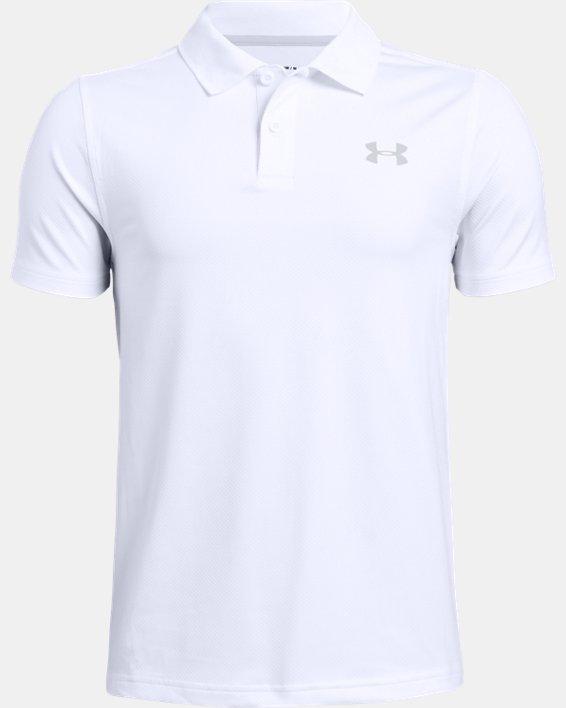 Boys' UA Performance Polo Textured, White, pdpMainDesktop image number 4