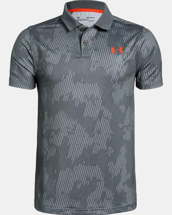 Boys' UA Performance Polo Textured Printed, Gray, pdpMainDesktop image number 0