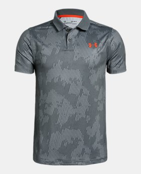 9d824b00 New to Outlet Boys' UA Performance Polo Textured Printed 4 Colors Available  $26.99