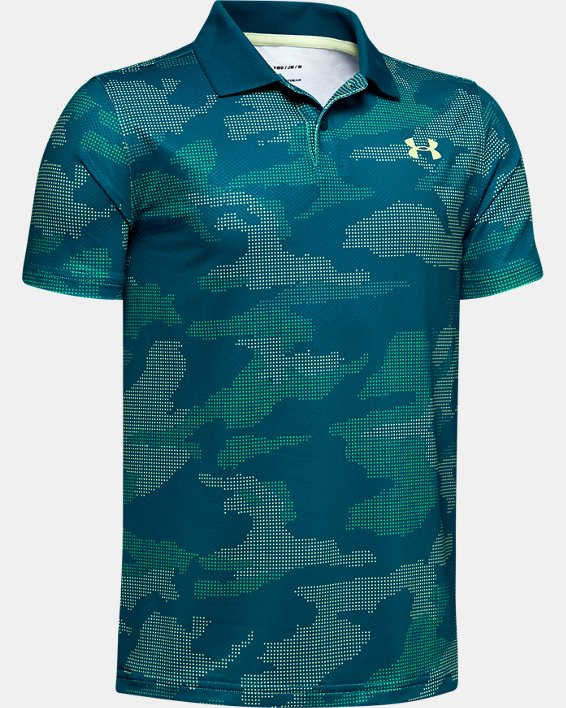 Boys' UA Performance Polo Textured Printed, Green, pdpMainDesktop image number 0