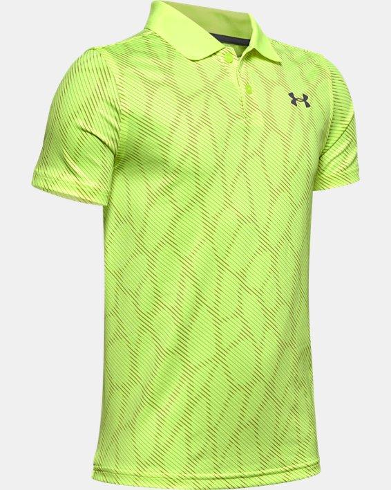 Boys' UA Performance Polo Textured Printed, Yellow, pdpMainDesktop image number 0