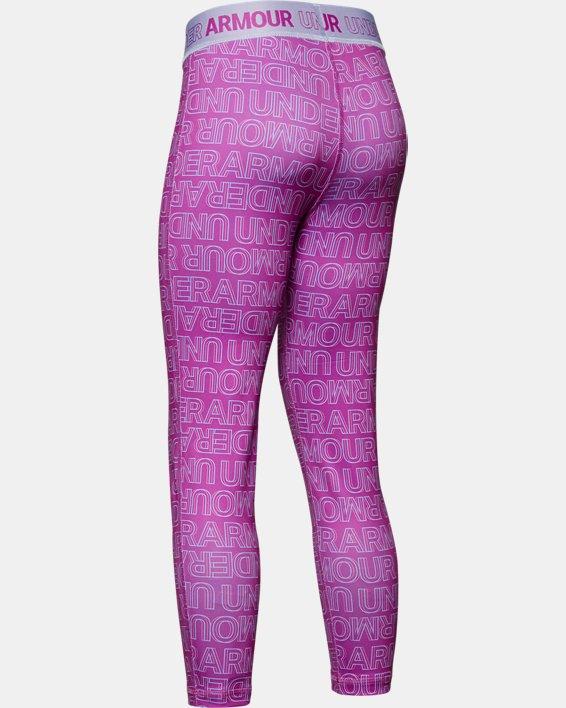 Girls' HeatGear® Armour Printed Ankle Crop, Purple, pdpMainDesktop image number 1