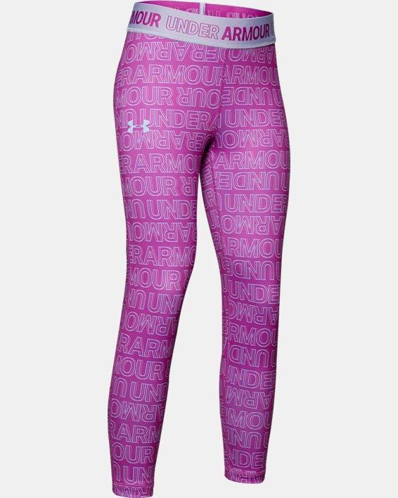 Girls' HeatGear® Armour Printed Ankle Crop, Purple, pdpMainDesktop image number 0