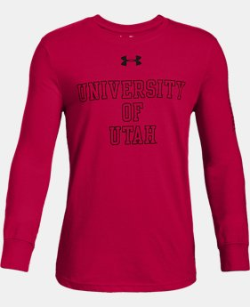 Boys' UA Cotton Collegiate Long Sleeve Shirt  1  Color Available $19.6