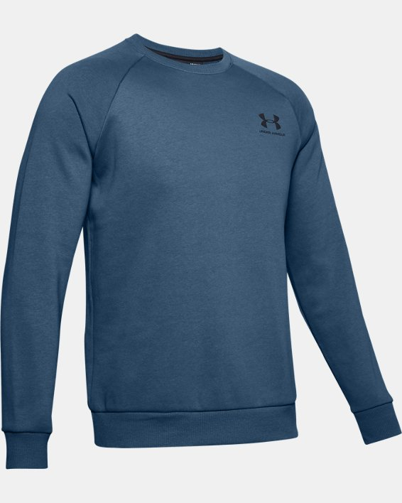 Men's UA Rival Fleece Crew, Blue, pdpMainDesktop image number 4