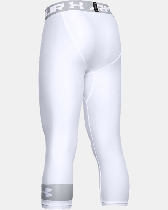 Boys' HeatGear® Armour ¾ Leggings, White, pdpMainDesktop image number 1