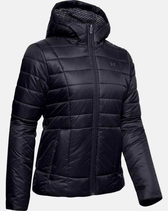 Women's UA Armour Insulated Hooded Jacket, Black, pdpMainDesktop image number 4