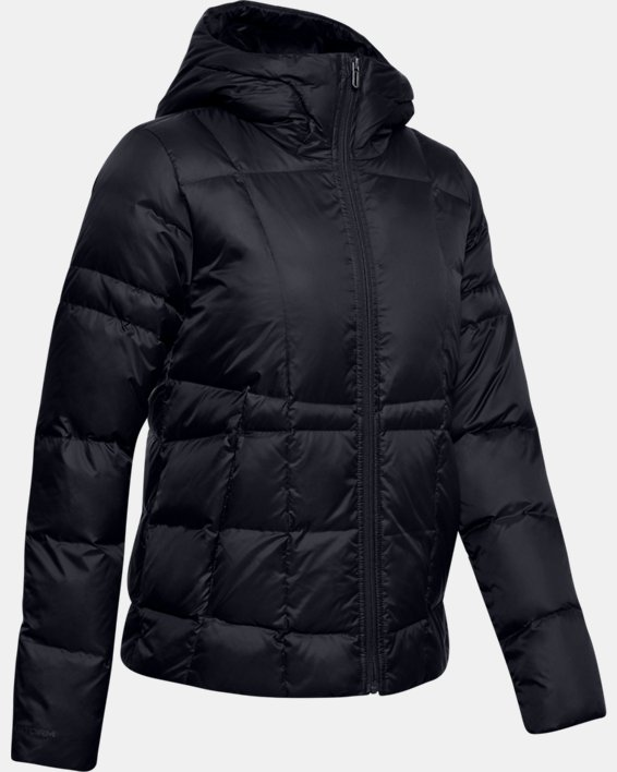 Women's UA Armour Down Hooded Jacket, Black, pdpMainDesktop image number 4