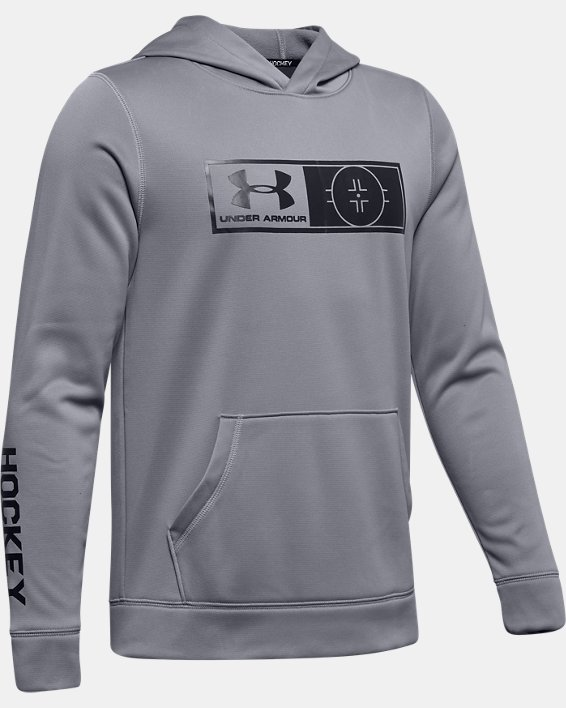 Boys' UA Hockey Hoodie, Gray, pdpMainDesktop image number 0