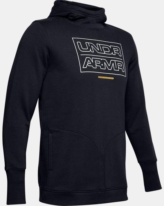 Men's UA Baseline Fleece Hoodie, Black, pdpMainDesktop image number 4