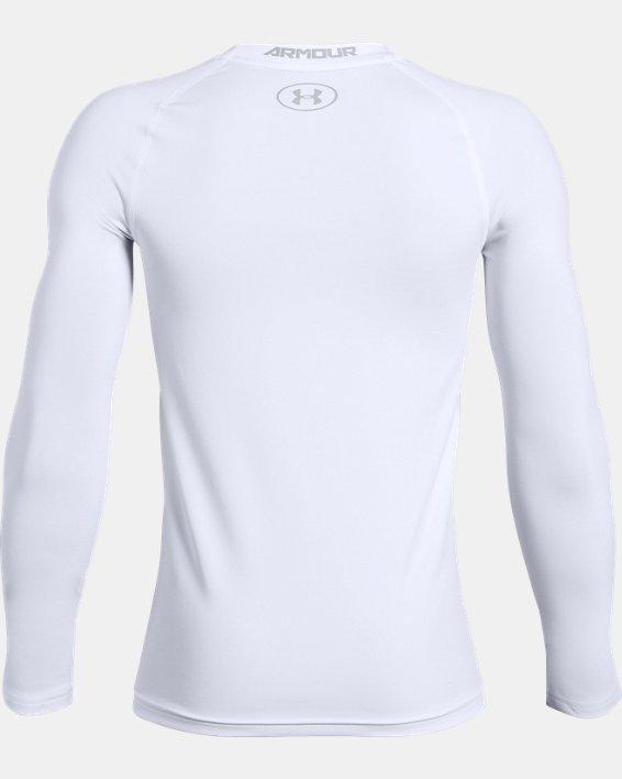 Boys' HeatGear® Armour Long Sleeve, White, pdpMainDesktop image number 1