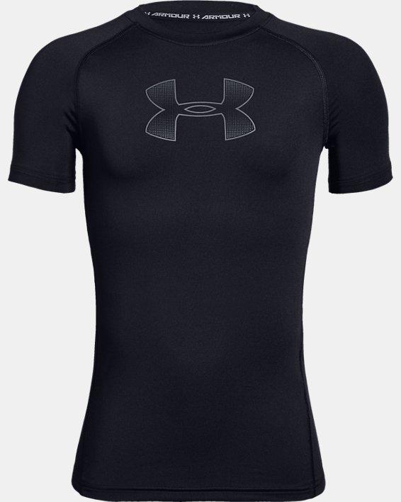 Boys' HeatGear® Armour Short Sleeve, Black, pdpMainDesktop image number 4