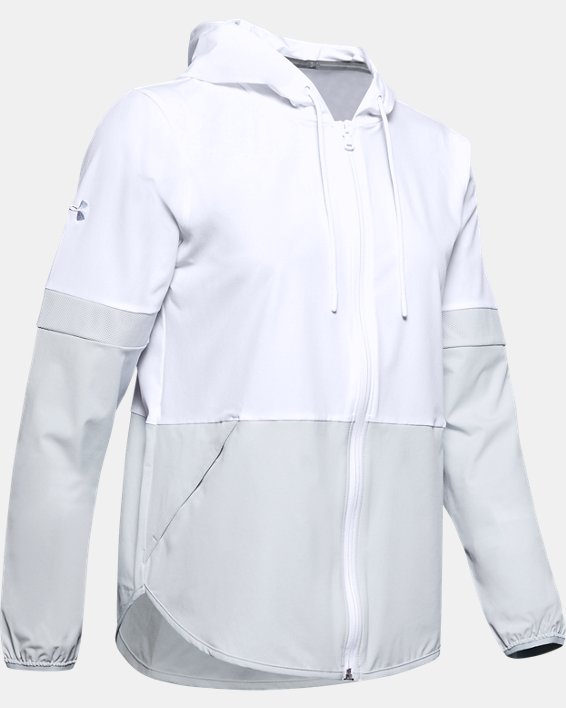 Women's UA Squad 2.0 Woven Jacket, White, pdpMainDesktop image number 0