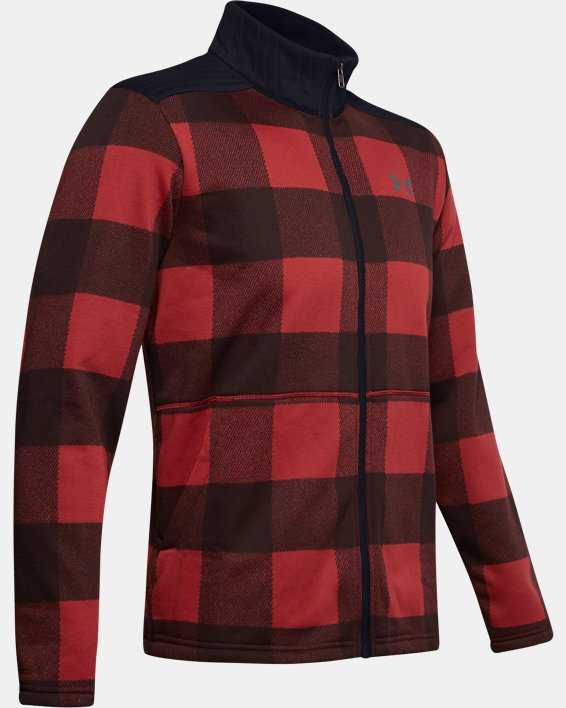 Men's UA Field Fleece Full Zip, Red, pdpMainDesktop image number 4