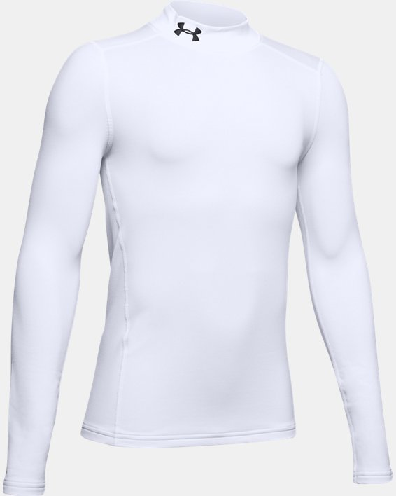 Boys' ColdGear® Armour Mock, White, pdpMainDesktop image number 4