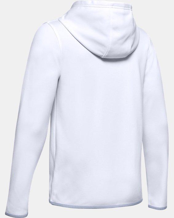 Boys' Armour Fleece® Wordmark Hoodie, White, pdpMainDesktop image number 1