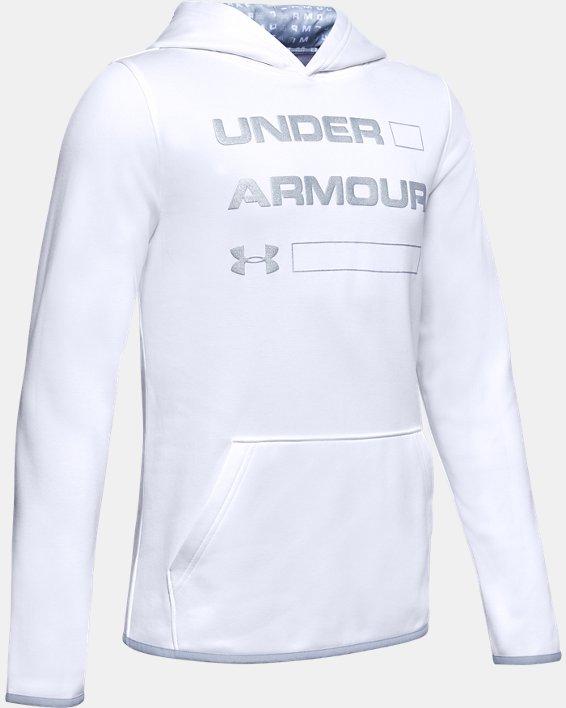 Boys' Armour Fleece® Wordmark Hoodie, White, pdpMainDesktop image number 0