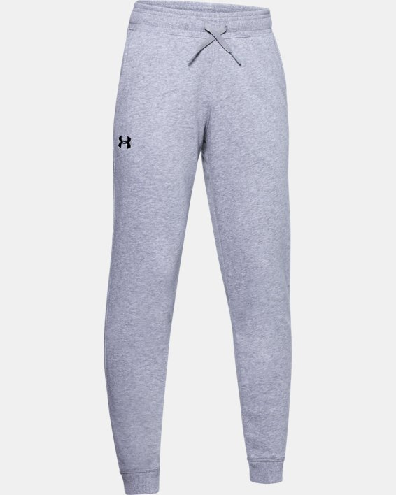 Boys' UA Hustle Fleece Joggers, Gray, pdpMainDesktop image number 0