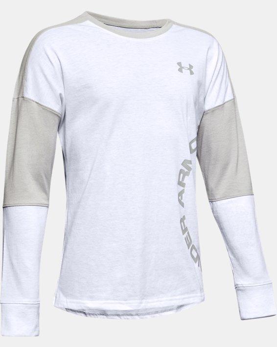 Boys' UA Sportstyle Color Blocked Long Sleeve, White, pdpMainDesktop image number 0