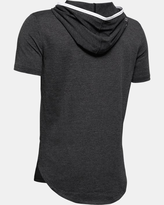 Boys' UA Baseline Short Sleeve Hoodie, Black, pdpMainDesktop image number 1