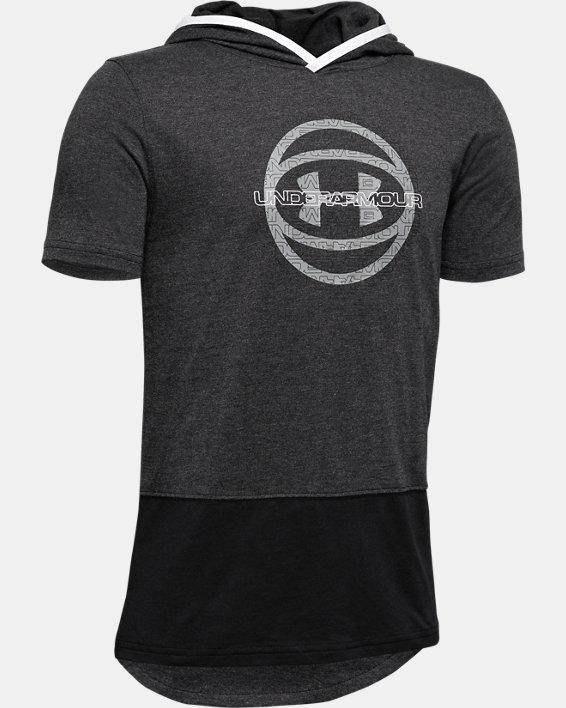Boys' UA Baseline Short Sleeve Hoodie, Black, pdpMainDesktop image number 0