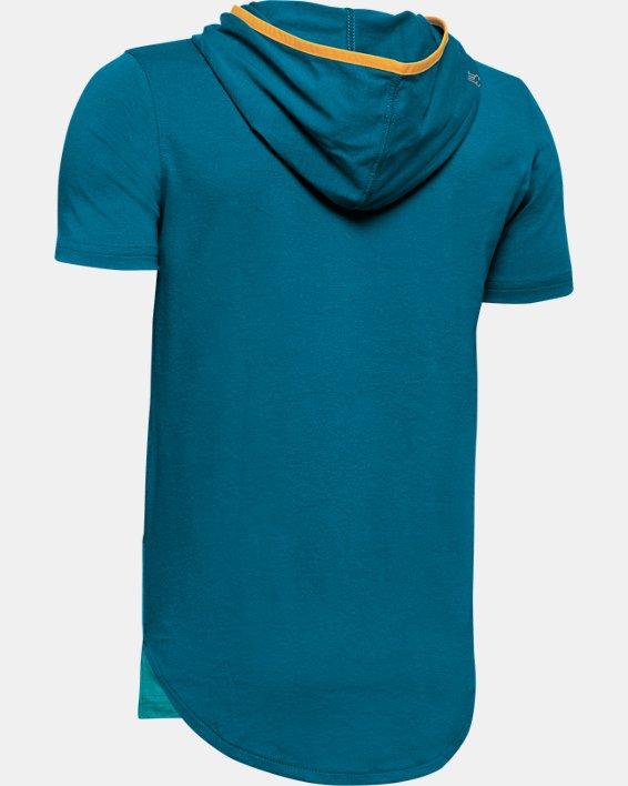 Boys' UA Baseline Short Sleeve Hoodie, Green, pdpMainDesktop image number 1