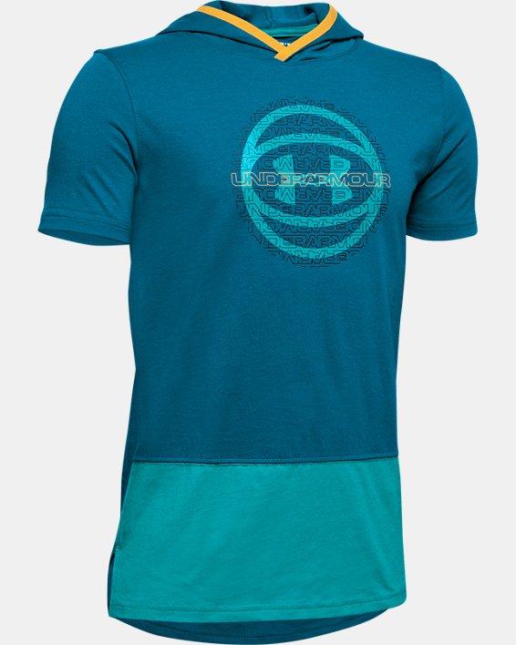 Boys' UA Baseline Short Sleeve Hoodie, Green, pdpMainDesktop image number 0