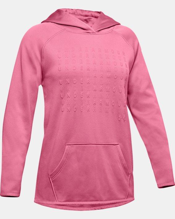 Girls' Armour Fleece® Branded Hoodie, Pink, pdpMainDesktop image number 3