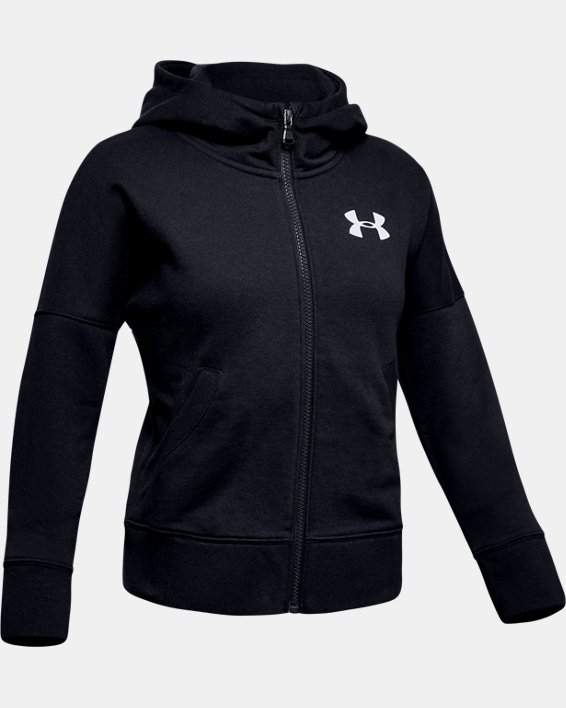 Sweat UA Rival Full Zip pour fille, Black, pdpMainDesktop image number 4