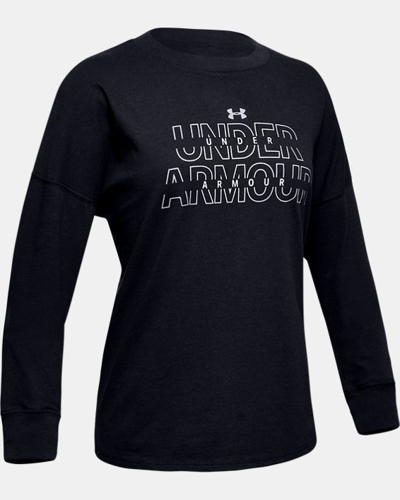 Girls' UA Wordmark Branded Long Sleeve, Black, pdpMainDesktop image number 0
