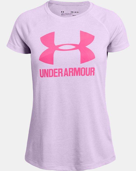 Girls' UA Big Logo Twist Short Sleeve, Purple, pdpMainDesktop image number 0