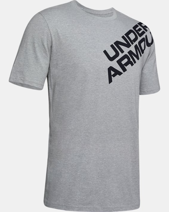 Men's UA Wordmark Shoulder Short Sleeve, Gray, pdpMainDesktop image number 4