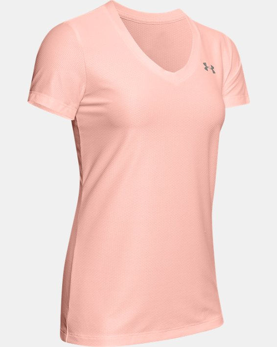 Women's UA Tech™ Short Sleeve V-Neck Novelty, Orange, pdpMainDesktop image number 4