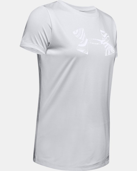 Women's UA Tech™ Short Sleeve Graphic, Gray, pdpMainDesktop image number 4