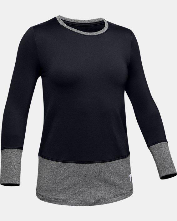Girls' ColdGear® Long Sleeve Crew, Black, pdpMainDesktop image number 4
