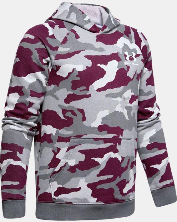 Boys' UA Rival Printed Hoodie, Purple, pdpMainDesktop image number 0