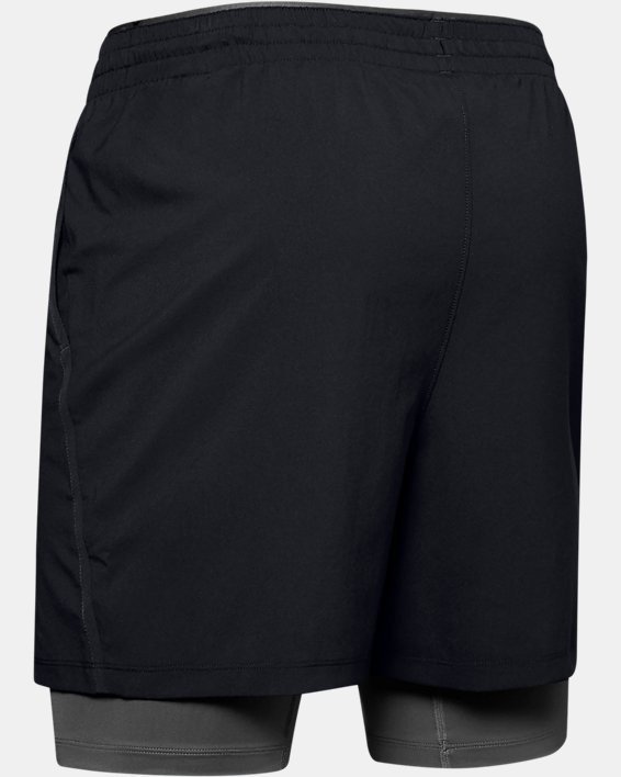 Short UA Qualifier 2-in-1 pour homme, Black, pdpMainDesktop image number 4