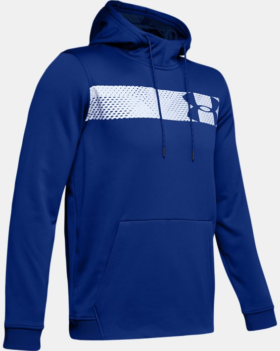 Men's Armour Fleece® Bar Logo Graphic Hoodie, Blue, pdpMainDesktop image number 4