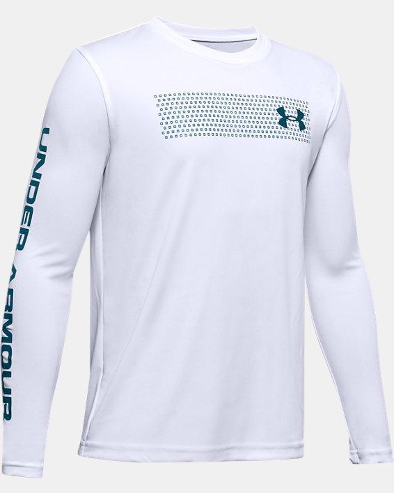 Boys' UA Velocity Graphic Long Sleeve, White, pdpMainDesktop image number 0