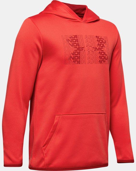 Boys' Armour Fleece® Big Logo Hoodie, Red, pdpMainDesktop image number 0