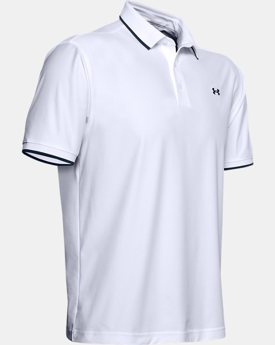 Men's UA Playoff Pique Polo, White, pdpMainDesktop image number 4