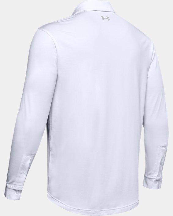Men's UA Playoff 2.0 Long Sleeve Polo, White, pdpMainDesktop image number 5