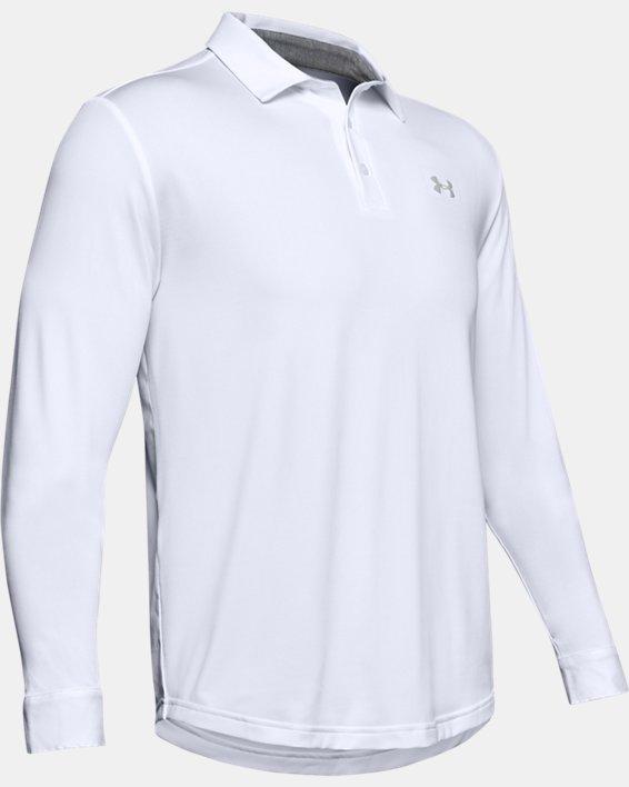 Men's UA Playoff 2.0 Long Sleeve Polo, White, pdpMainDesktop image number 4