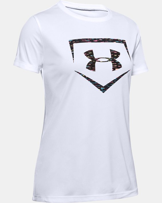 Girls' UA Softball Logo Short Sleeve, White, pdpMainDesktop image number 0