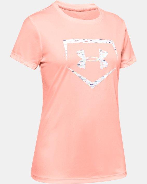 Girls' UA Softball Logo Short Sleeve, Orange, pdpMainDesktop image number 0